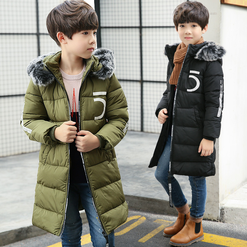 Boys hooded padded winter coat new fashion baby boy clothes 2017 children warm jacket and long sections 4-13 children winter coats jacket baby boys warm outerwear thickening outdoors kids snow proof coat parkas cotton padded clothes