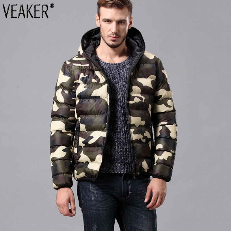 2018 Autumn Winter Men's Hooded Camouflage   Parkas   Down Jacket Male Slim Fit Cotton Padded Coat Men Green Red Outerwear Coat