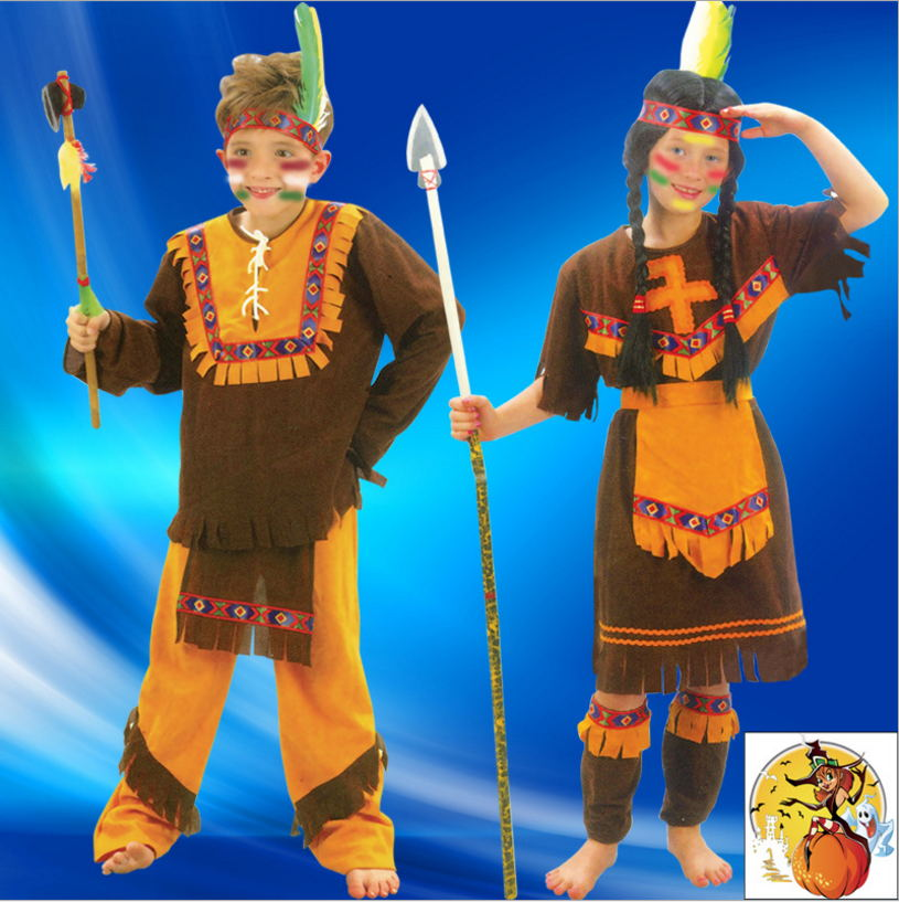 new free shipping Halloween costume party dress costume costumes little Indian boy dressed clothing halloween costumes clown dressed up acting cute nose red