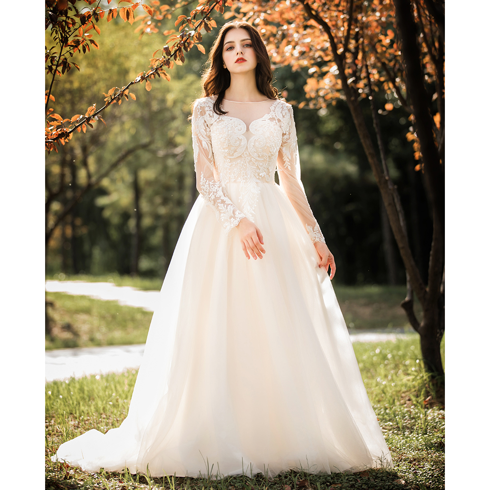0a611bfed0 Luxury Boat Neck Crystal Beading Lace Vestidos De Novia See Through Tulle  A-line Maxi Wedding Dresses Full Sleeves Bridal Gowns ~ Best Seller July  2019