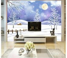 3D wallpaper custom murai non-woven wallpaper Romantic snow mural TV background wall ceramic tile home decoration(China)
