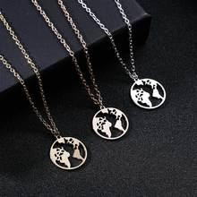 Rinhoo mapa do mundo redondo coração oco colar moda círculo liga globo pingente colar para homens feminino colar de jóias presente