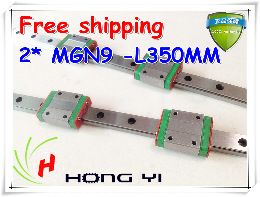 Free shipping Square linear guide 2 X MGN9 L=350mm with 4pcs MGN9C linear blocks(can be cut any length) new square linear guide 2 x mgn12 l 300mm with 4pcs mgn12c linear blocks can be cut any length