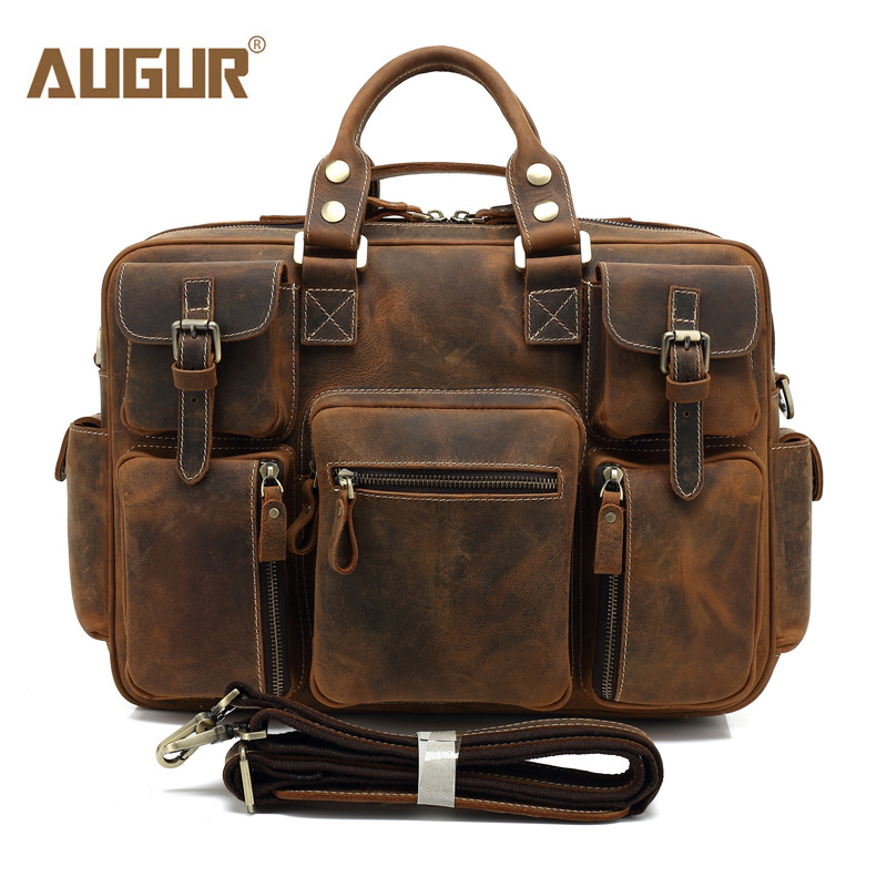 AUGUR New Men Genuine Leather Bag Designer Handbags Large Capacity Multifunctional Laptop Bag High Quality Shoulder Bag For Men 2016 new genuine polo brand golf bag for men s clothing bag women pu bag large capacity high quality