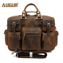 AUGUR New Men Genuine Leather Bag Designer Handbags Large Capacity Multifunctional Laptop Bag High Quality Shoulder Bag For Men