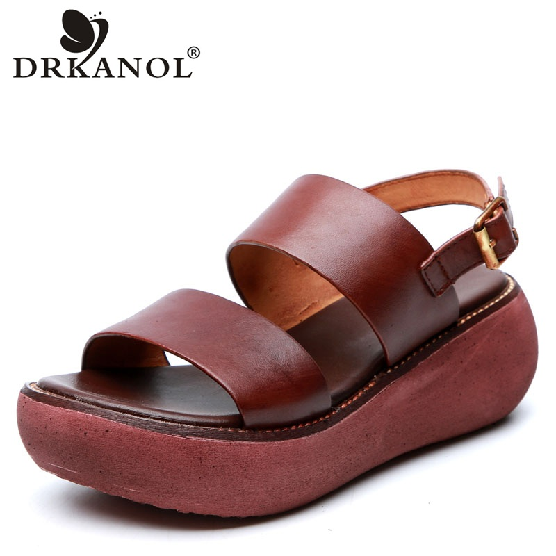 DRKANOL Retro Summer Sandals Women 2020 Open Toe Wedge Platform Gladiator Sandals Women Genuine Leather Sandals High Heel Shoes