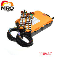110VAC 1 Speed 2 Transmitter 16 Channels Hoist Crane Industrial Truck Radio Remote Control System Controller