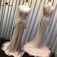 QUEEN BRIDAL Sexy Evening Dresses Mermaid Long Sleeve Sparkle Sequin Beaded Luxury Party Dress Bride Gowns Vestido De Festa BY33
