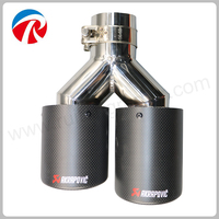 Dual Stainless Akrapovic Car Exhaust Tip Muffler Tip Inlet 63mm Outlet 89mm Car Styling Exhaust Car
