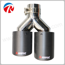 Dual Stainless Akrapovic Car Exhaust Tip Muffler Tip Inlet 63mm Outlet 89mm Car-Styling Exhaust Car Muffler Tip