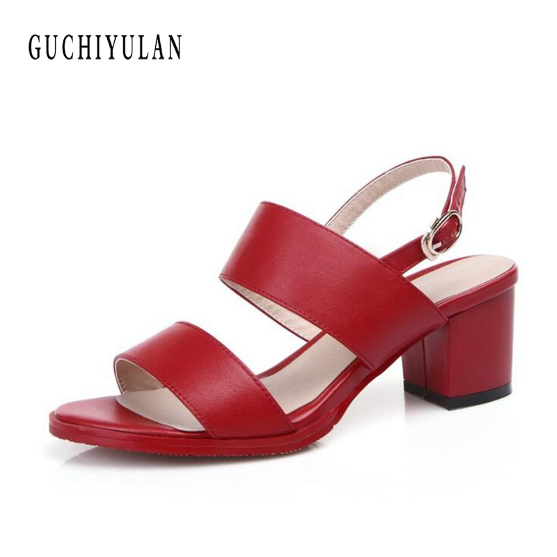 Women Sandals Summer Genuine Leather Heels Open Toe Women's Sandals Low Heel Woman Shoes Sexy Back Strappy Platform Sandals mudibear women sandals pu leather flat sandals low wedges summer shoes women open toe platform sandals women casual shoes