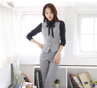 IZICFLY Spring Summer Style Gray Waistcoat And Pants Set For Woman Suits Lady Suit Office Vest Elegant Slim business Formal Wear