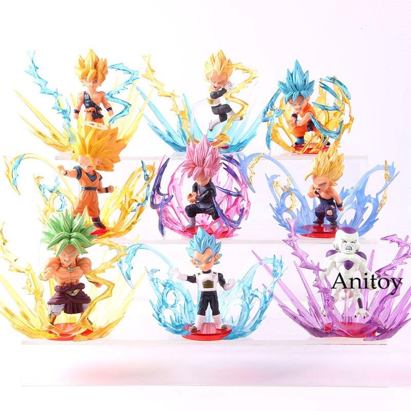 Dragon Ball Super Saiyan végéta Son Goku Son Gohan Broly Frieza rafale figurine PVC à collectionner modèle jouet 9 pièces/ensemble