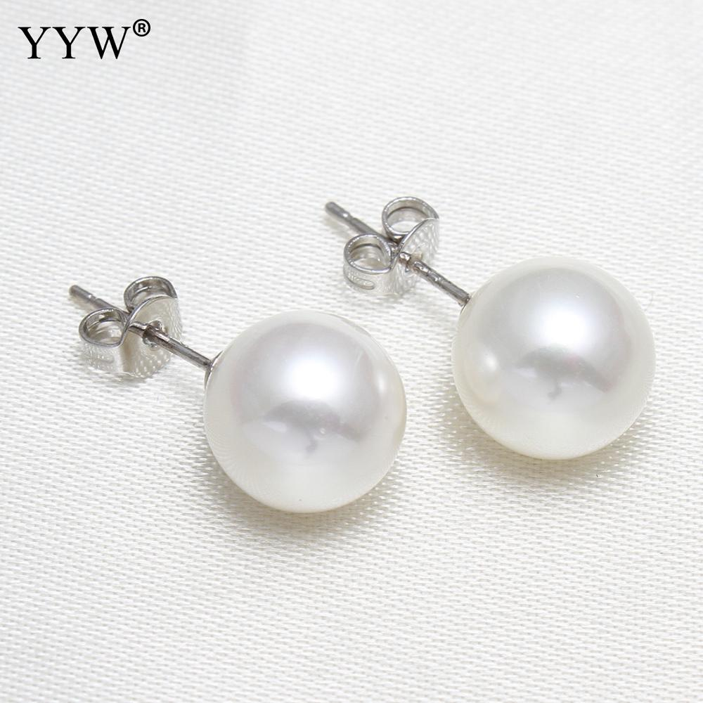 YYW 1 Pair Natural Freshwater Pearl Stud Earring 10mm Near Round Ball Bead White Color Shell Pearl Stud Earrings for woman