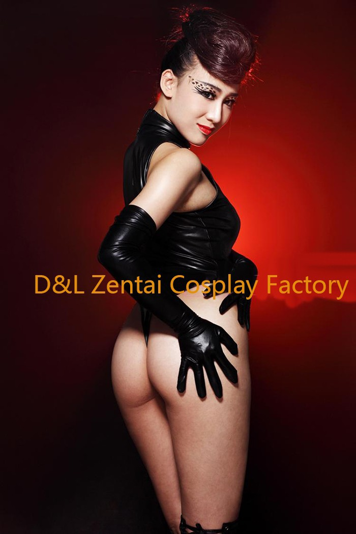 Free Shipping DHL Adult Sexy Costume Black Shiny Metallic Zentai Catsuits for Women MY004 (2)