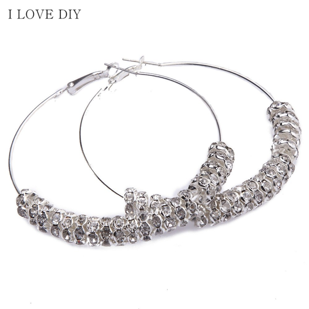 Fashion Women Shiny Glass Crystal Bead Basketball Wives Earrings For Wedding Party