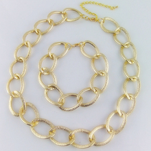 CirGen, модная большая петля из алюминия и металла, массивная золотая цепочка, женский воротник, колье, ожерелье, браслет, ювелирный набор, SS815