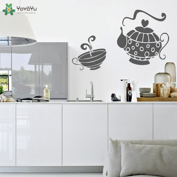 YOYOYU Wall Decal Teapot Pattern Vinyl Kitchen Wall Stickers Cafe Shop Window Removable Decals Art Mural Interior Design SY671