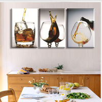 Unframed 3 Panels Modern Vintage Kitchen Wine Glass Wall Painting Flower Art Picture Paint On Canvas