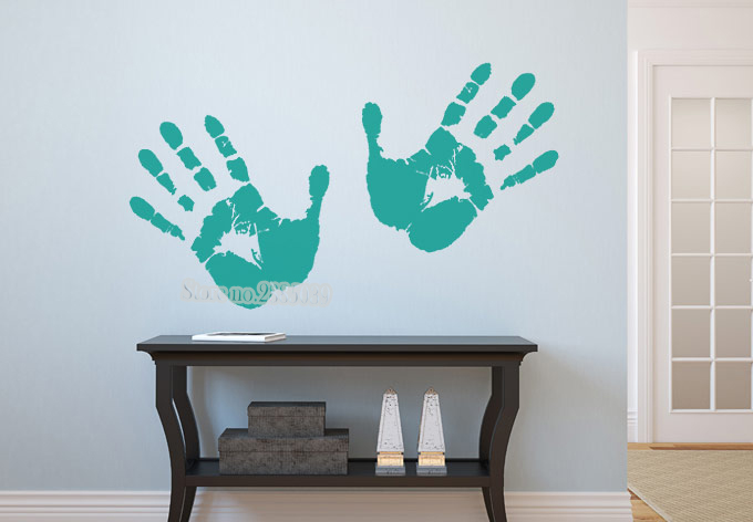 Creative Hand Print Wall Decor Sticker Vinyl Colorful Wall Paper Declas For Baby Kids Room Office Decor Art Stickers Mural LA423