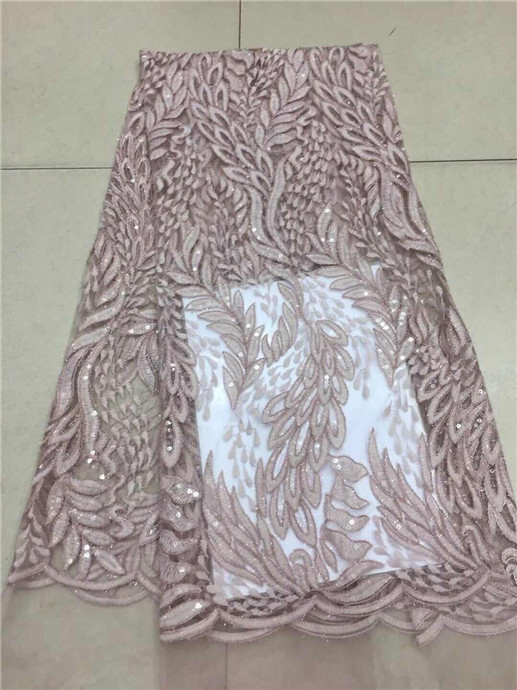 Latest African French Lace Fabric With Sequins pink For Sewing Wedding Dress 2019 High Quality Organza