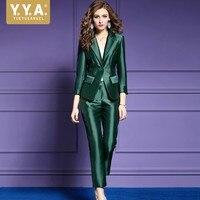 Высокое качество роскошные Для женщин костюмы Мода одной кнопки костюм женский Бизнес Офисные женские туфли костюм из двух частей Комплект