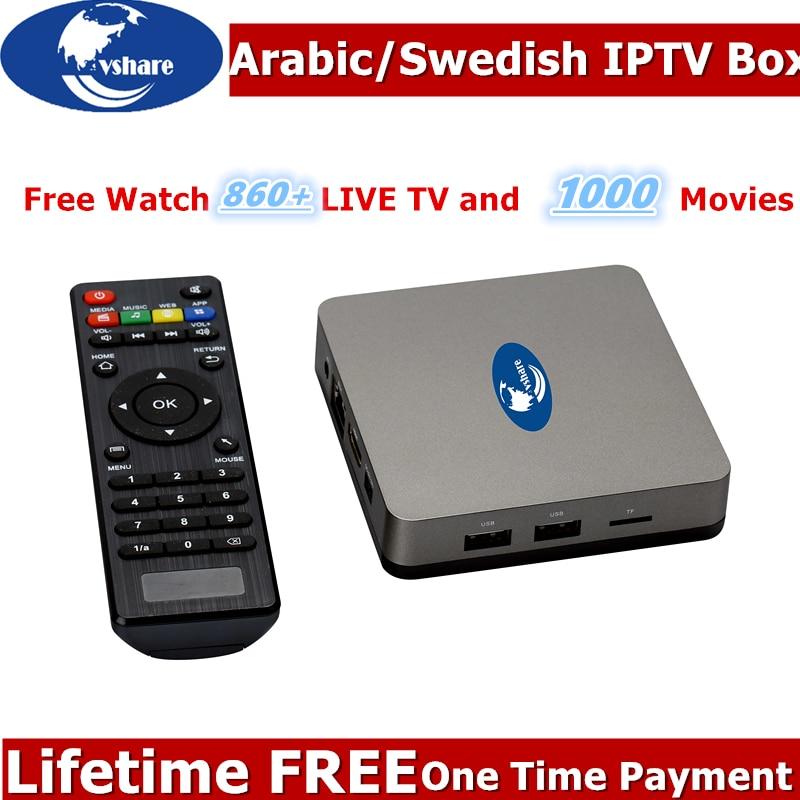 2019VSHARE Arabic IPTV Box No Monthly/Yearly Fee Free Forever IPTV Subscription Africa Somali Tunisia Swedish USA IPTV Arabic