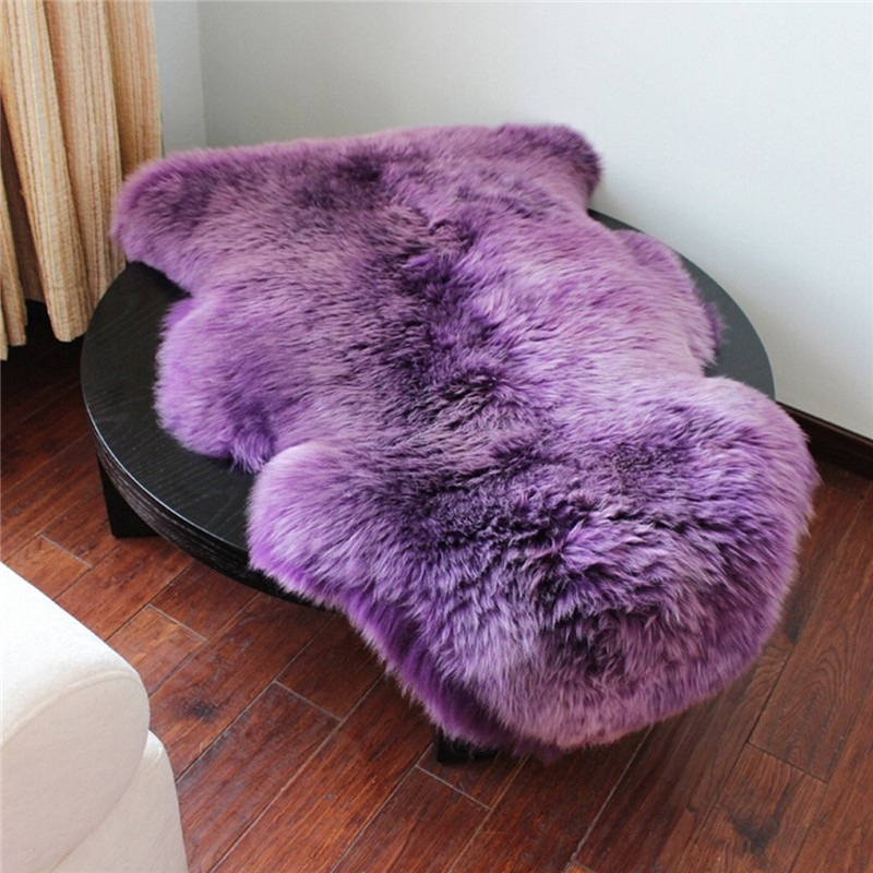 Warm Hairy Carpet Soft Sheepskin Chair Cover Seat Pad Plain Skin Fur Plain Fluffy Area Rugs Washable Bedroom Faux Mat