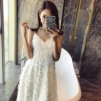 Feather fringed chiffon clothing dresses Blended polyester fabric / tassel texture color perspective wedding tweed fabric A010