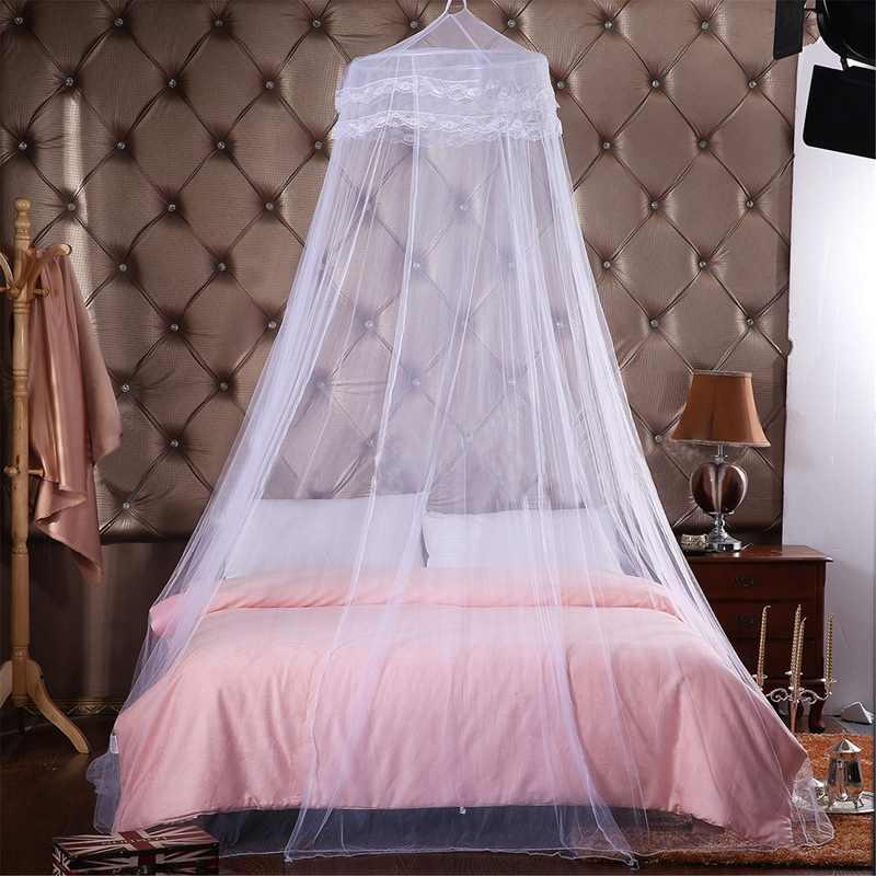 Jogo do Fundamento do Poliéster redondo Do Laço Insect Cama Dossel Compensação Cortina Dome Mosquito Net Para Casa Móveis
