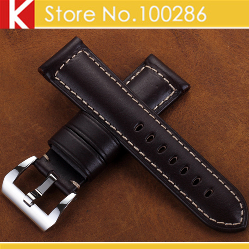 Watch accessories watch band 24mm brown italy calf leather watch strap handmade padded steel for Violet leather strap watch
