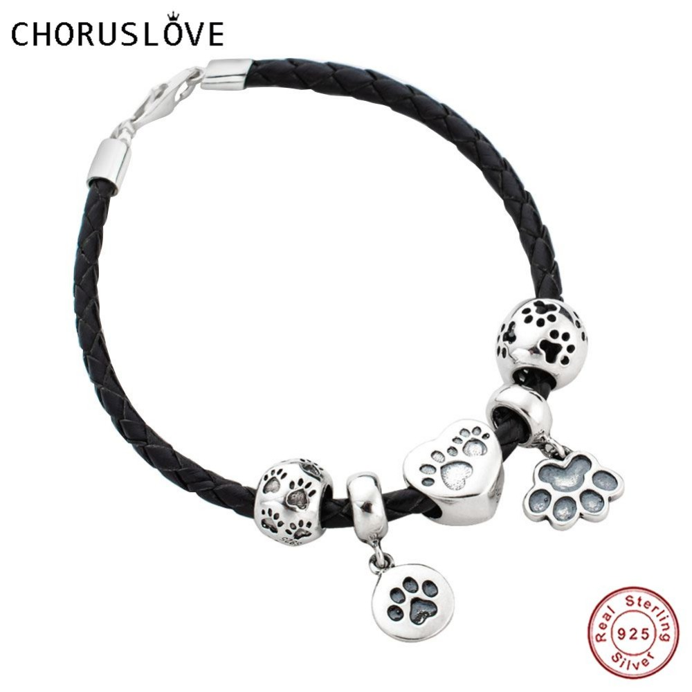 Choruslove Black Braided Leather Bracelet with Pet Dog Paw Print Charms Beads 925 Silver Lobster Clasp for Birthday Gifts SJ2009 mirage pet products 20 inch patriotic star paw screen print shirts for pets 3x large white