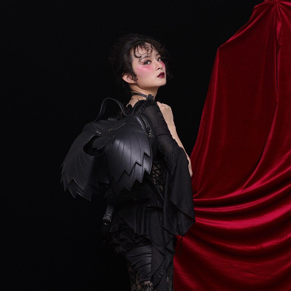 Mode Steelsir Dimensions À En Sacs Sexy Ailes Mystérieux Trois Voyage Black Femmes Dentelle Rock Sac Personnalité Noir Gothique Style Dos x6xaw