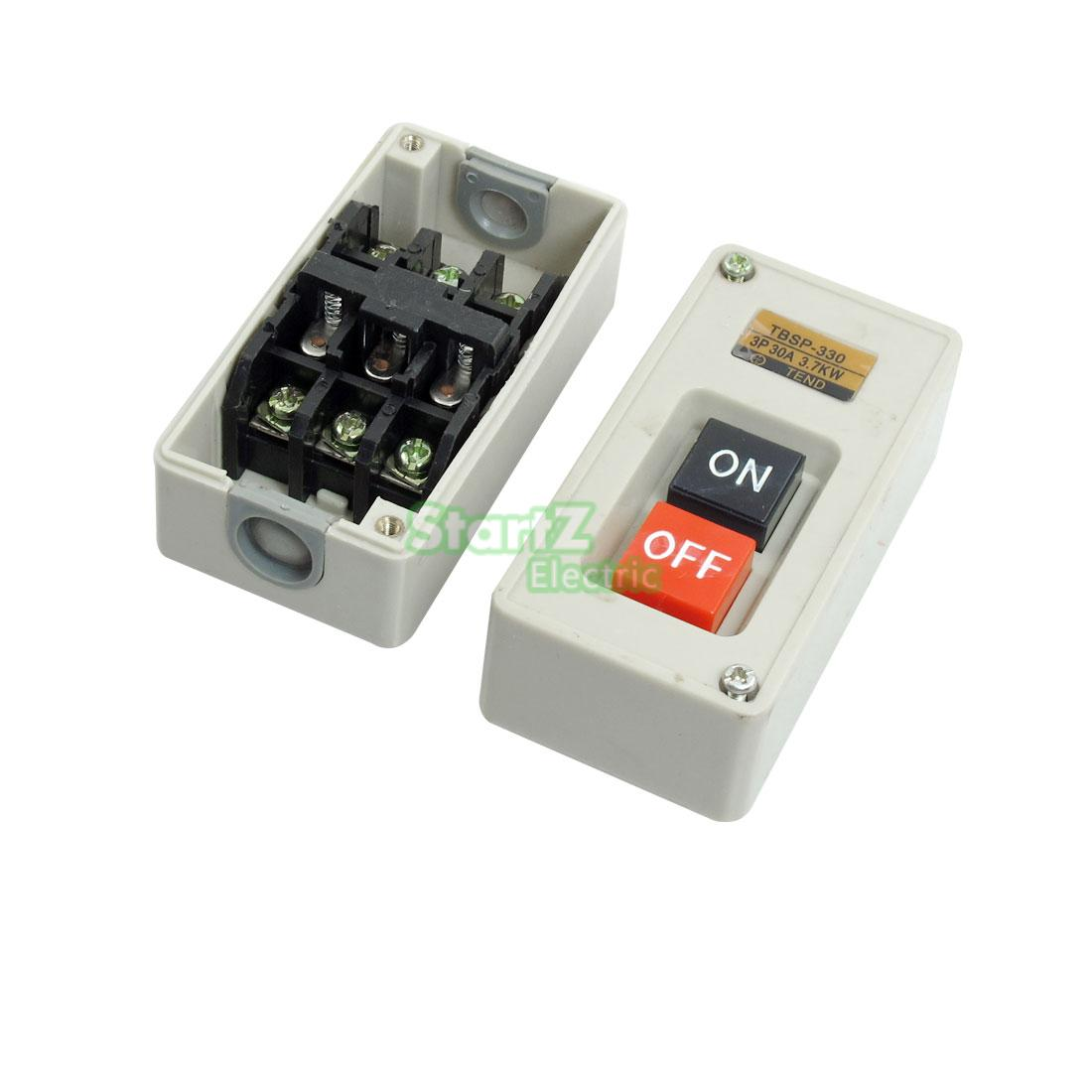 3P 3 Phase 30A 3.7KW Self Lock On/Off Power Pushbutton Switch TBSP-330