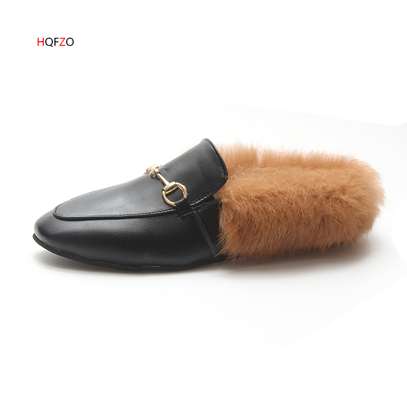 HQFZO Mules Shoes Woman Slippers Soft Slip On Flat Solid Fashion Casual Female Shoes PU Rabbit Fur Buckle Winter Autumn Mujer все цены