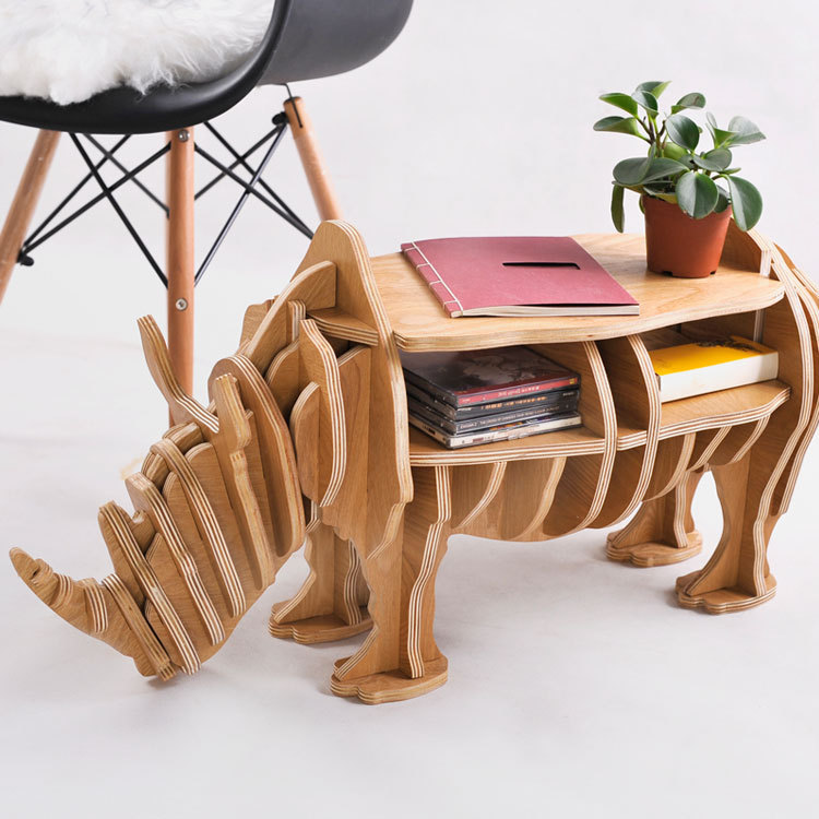 FREE SHIPPING Factory wholesale European Arts Crafts Home Decoration wooden rhino simulation wood furniture coffee table desk factory wholesale european style rhino wood coffee table desk craft gift desk self build puzzle furniture free shipping