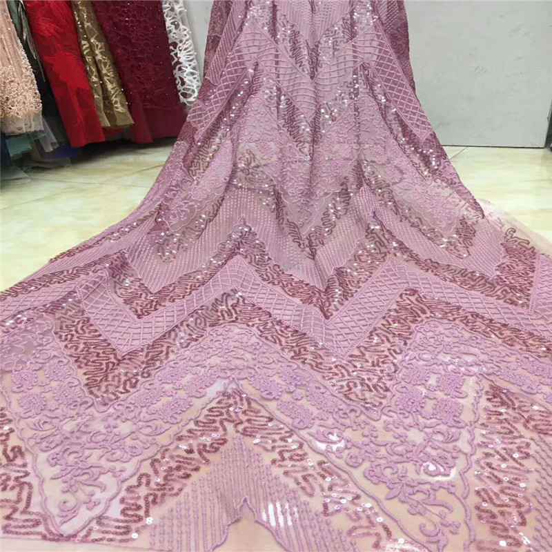 2018 latest pink sequins french lace fabric high quality nigerian tulle lace fabric for luxury evening