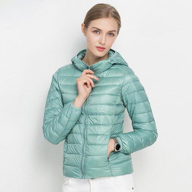 2018 Winter 90% White Duck Down Jacket coat Women Stand Collar Warm Slim Zipper Women Fashion Solid Casual Down Outerwear Parka