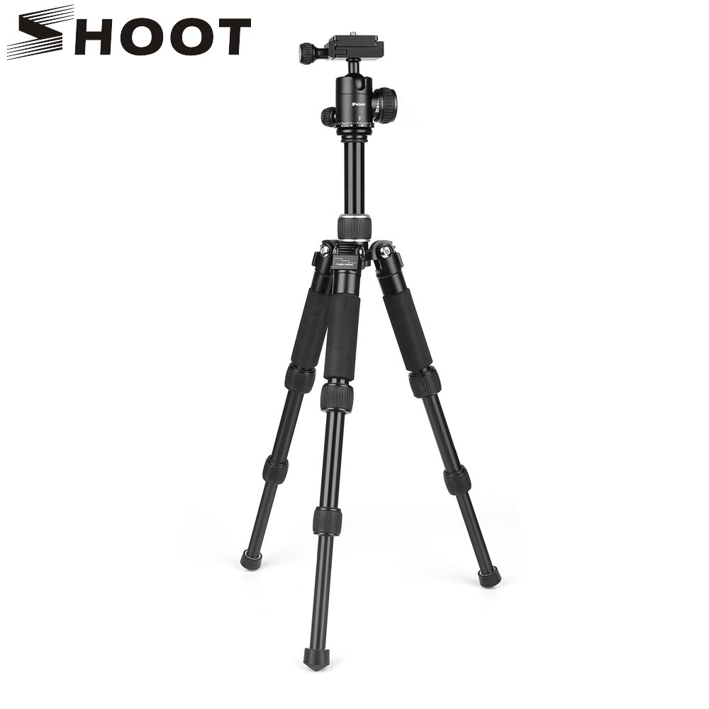 SHOOT Aluminum Alloy Portable Travel Camera Tripod for DSLR Canon Nikon Digital Action Camera Tripod Stand with Ball Head XT-441 new professional portable aluminum tripod for dslr camera camcorder travel tripod stand removable monopod with ball head