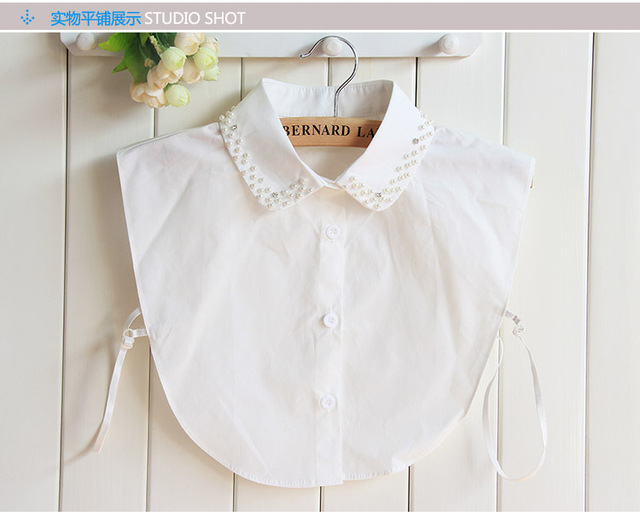 hot sales 450e6 6f8ab US $5.69 5% di SCONTO|Handmade bead inverno femminile del merletto falso  colletto della camicia femminile nero plum camicetta collare fiocco perline  ...
