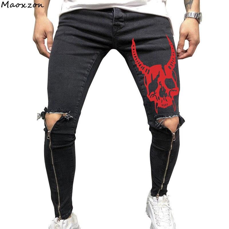 Maoxzon Mens Print Distressed Skinny Jeans For Male New Hole Zipper Casual Athleisure Sportswear Slim Long Denim Pencil Pants
