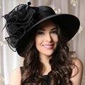 Chapéu Elegante das mulheres Negras de Verão Kentucky Derby Chapéus Para O Casamento Das Senhoras Da Igreja Chapéus