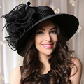 Women Black Summer Hat Elegant Kentucky Derby Hats For Ladies Wedding Church Hats