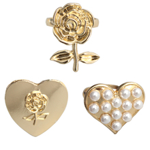 SANSUMMER Jewelry Sets Women's Clip & Stud Earrings Ring Simple Sweet Temperament Heart-shaped Pearl Rose Jewelry Sets 5311 ring shaped stud earrings