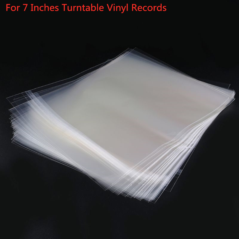 50PCS OPP Gel Record Protective Sleeves Self Adhesive Bag For 7 Inches Vinyl Records Turntable Accessories