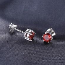 VVS Red Round Gemstone Jewelry Natural Garnet Earrings Stud Genuine 925 Sterling Silver Jewelry