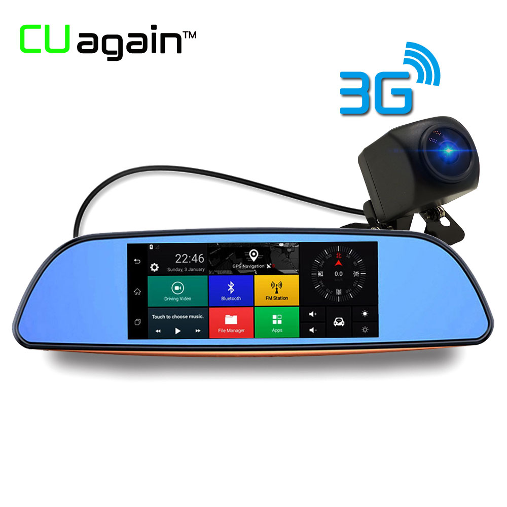 CUagain CUH2 DVR 3G Wifi Night vision 7 Car Camera GPS Bluetooth Rearview Mirror Video Recorder