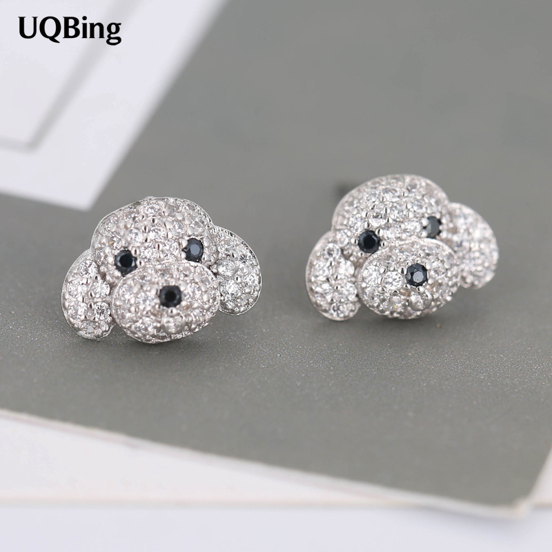 2018 New Fashion 925 Sterling Silver Rhinestone Dog Stud Earrings For Women Jewelry Free Shipping Brincos pair of stylish rhinestone clover stud earrings for women
