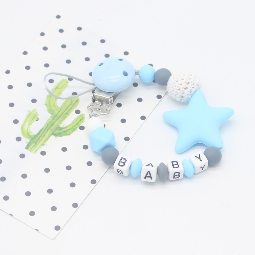 New Arrival Beads Teether Silica Gel Pacifier Clips Chain Baby Nipple Clip Infant Silicone Beads Holder