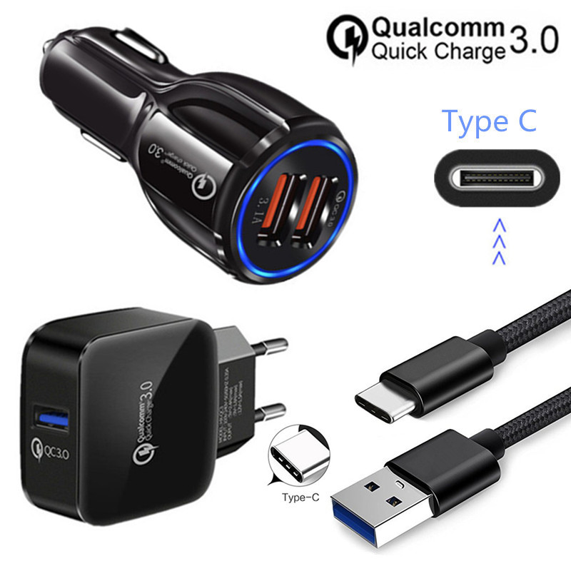 Fine For Samsung Galaxy A8 2018 S9 S10 A50 Bluboo S3 S8 Plus Sony L1 Xa1 Pocophone F1 Type C Usb Wire Qc 3.0 Fast Car Charger Adapter